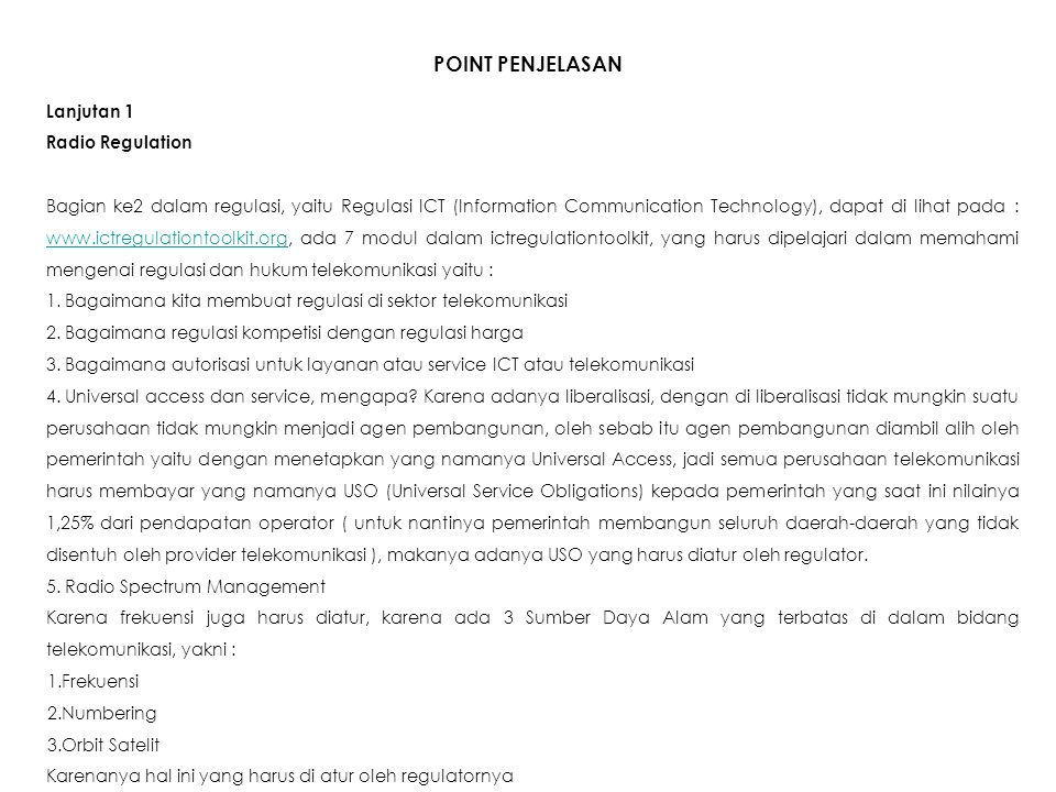 POINT PENJELASAN Lanjutan 1 Radio Regulation