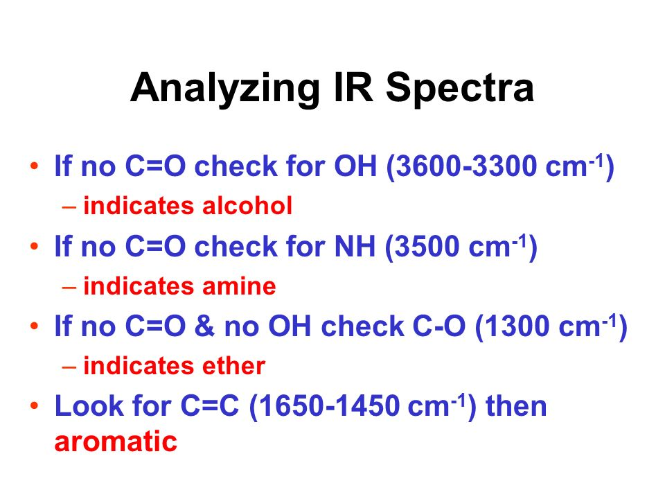 Analyzing IR Spectra If no C=O check for OH (3600-3300 cm-1)