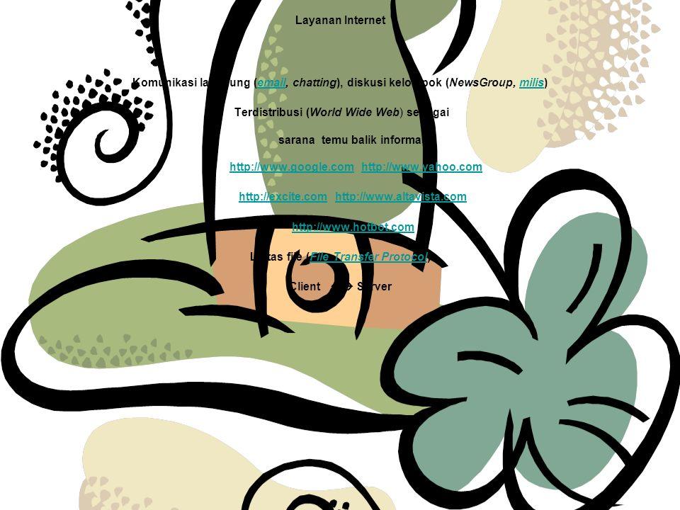 Layanan Internet Komunikasi langsung (email, chatting), diskusi kelompok (NewsGroup, milis) Terdistribusi (World Wide Web) sebagai sarana temu balik informasi http://www.google.com http://www.yahoo.com http://excite.com http://www.altavista.com http://www.hotbot.com Lintas file (File Transfer Protocol) Client  Server