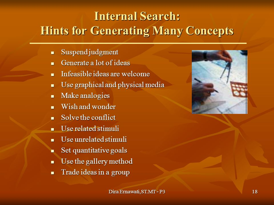 Internal Search: Hints for Generating Many Concepts