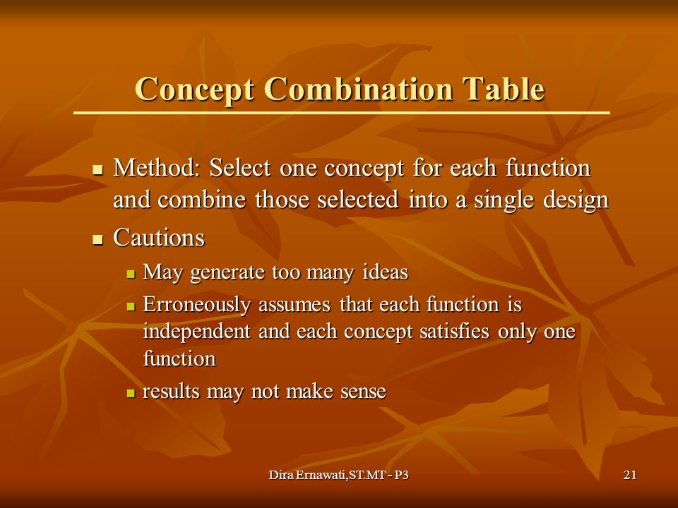 Concept Combination Table