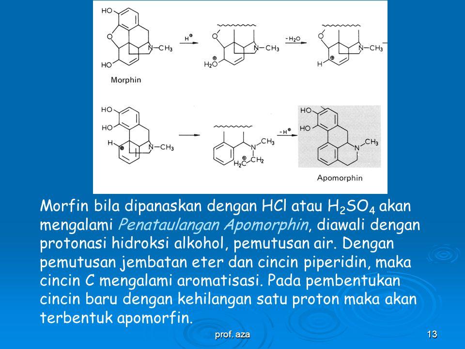 Morfin bila dipanaskan dengan HCl atau H2SO4 akan mengalami Penataulangan Apomorphin, diawali dengan protonasi hidroksi alkohol, pemutusan air. Dengan pemutusan jembatan eter dan cincin piperidin, maka cincin C mengalami aromatisasi. Pada pembentukan cincin baru dengan kehilangan satu proton maka akan terbentuk apomorfin.