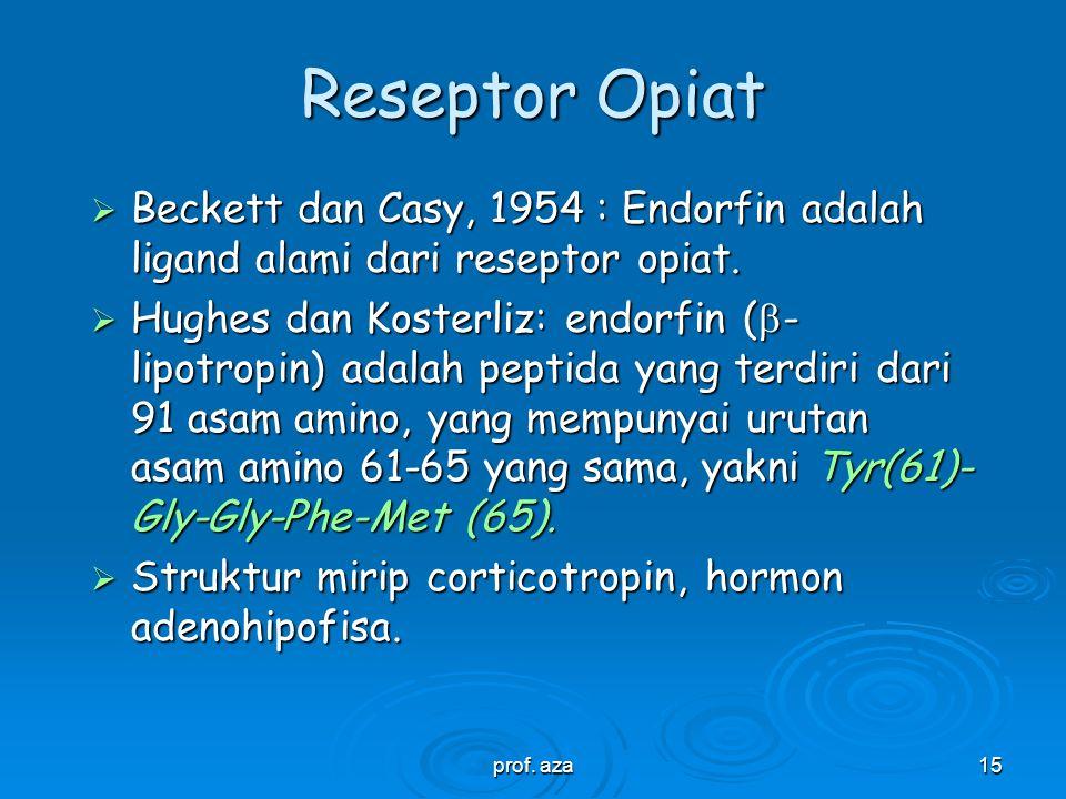 Reseptor Opiat Beckett dan Casy, 1954 : Endorfin adalah ligand alami dari reseptor opiat.