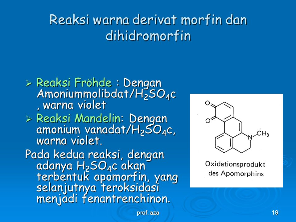 Reaksi warna derivat morfin dan dihidromorfin