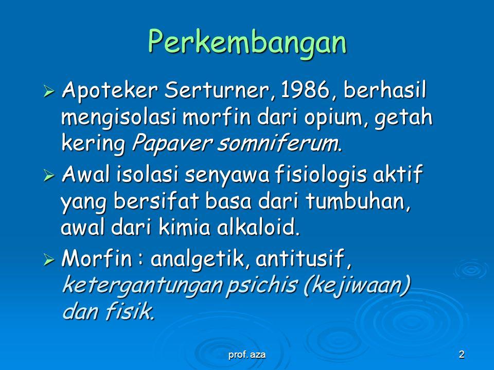 Perkembangan Apoteker Serturner, 1986, berhasil mengisolasi morfin dari opium, getah kering Papaver somniferum.