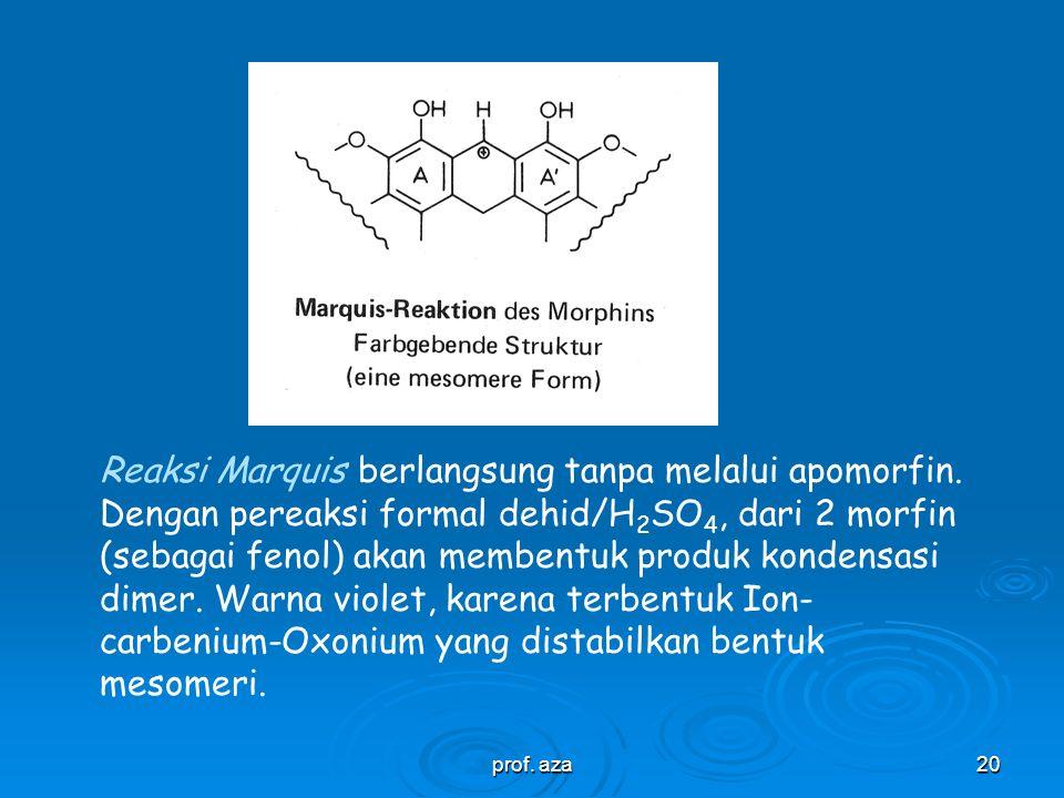 Reaksi Marquis berlangsung tanpa melalui apomorfin
