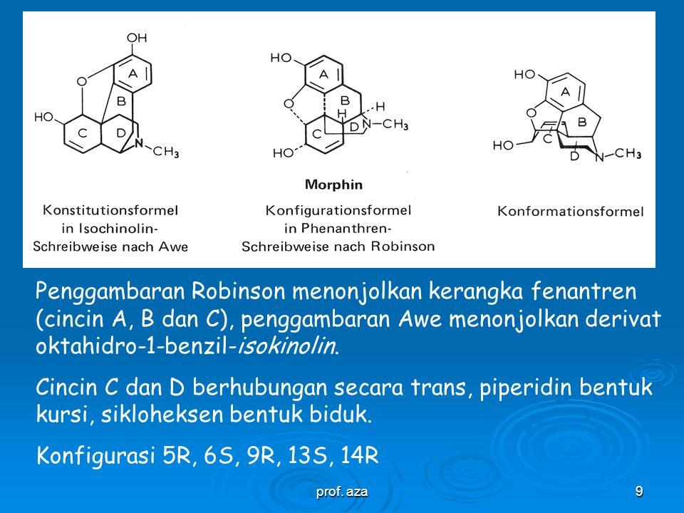 Penggambaran Robinson menonjolkan kerangka fenantren (cincin A, B dan C), penggambaran Awe menonjolkan derivat oktahidro-1-benzil-isokinolin.
