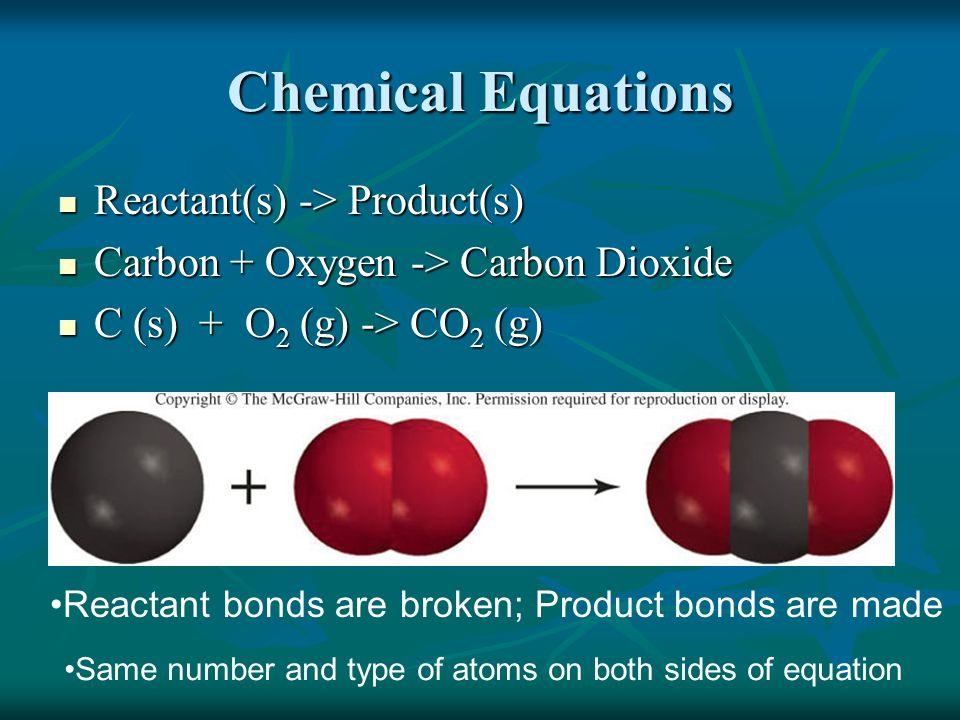 Chemical Equations Reactant(s) -> Product(s)