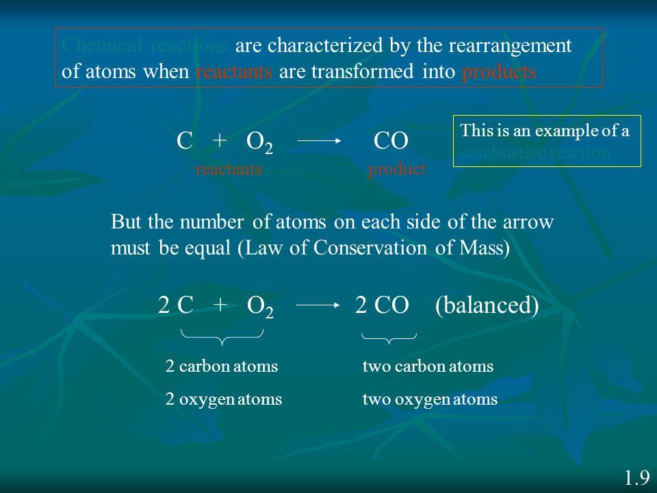 C + O2 CO 2 C + O2 2 CO (balanced)