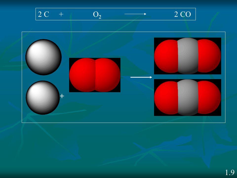 2 C + O2 2 CO + 1.9