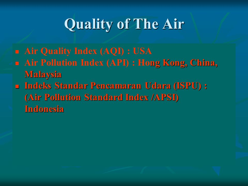 Quality of The Air Air Quality Index (AQI) : USA