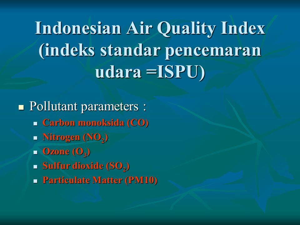 Indonesian Air Quality Index (indeks standar pencemaran udara =ISPU)