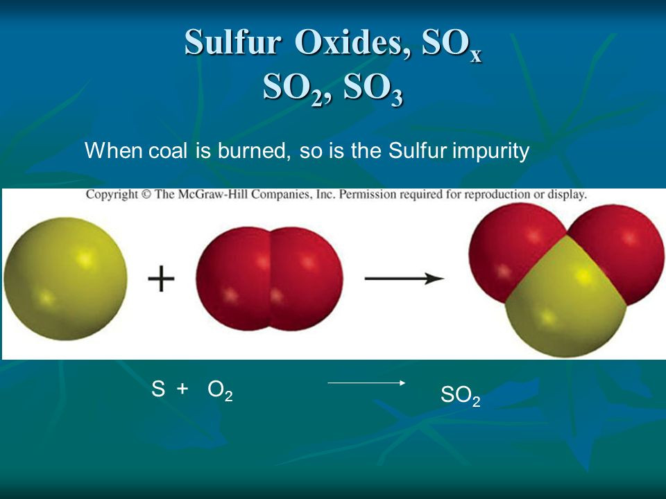 Sulfur Oxides, SOx SO2, SO3 When coal is burned, so is the Sulfur impurity S + O2 SO2