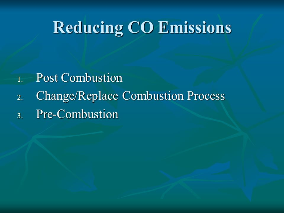 Reducing CO Emissions Post Combustion