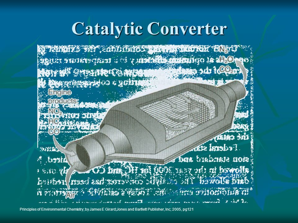 Catalytic Converter Principles of Environmental Chemistry; by James E Girard;Jones and Bartlett Publisher, Inc; 2005, pg121.