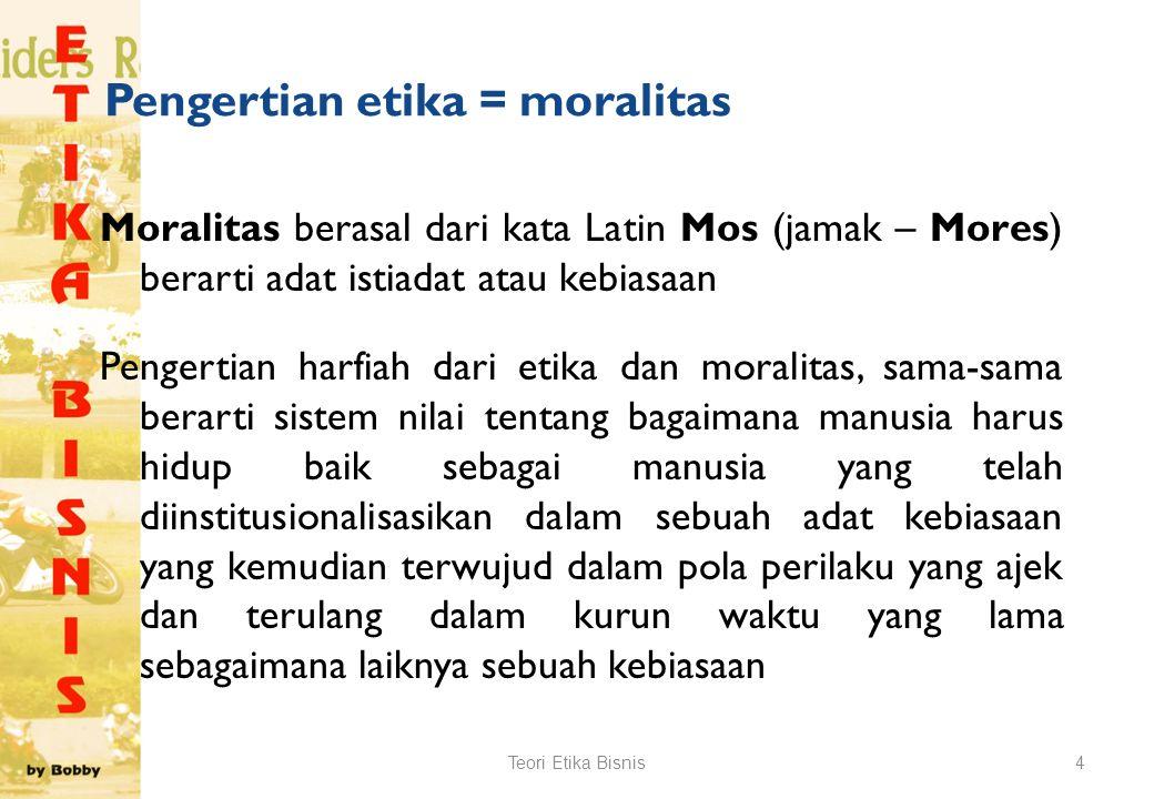 Pengertian etika = moralitas