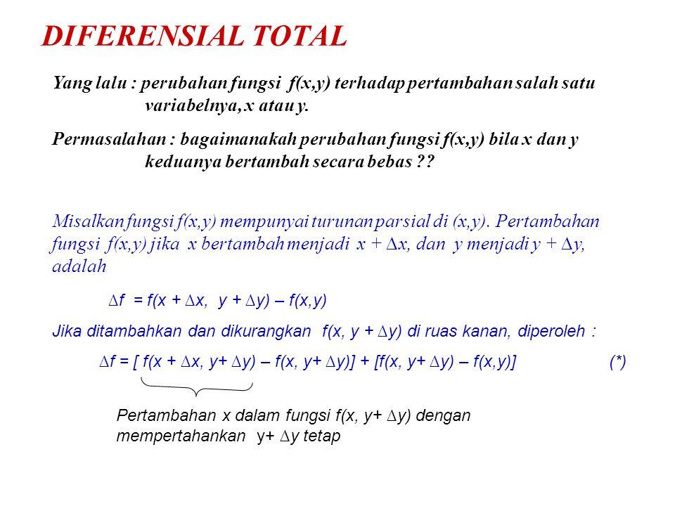 DIFERENSIAL TOTAL Yang lalu : perubahan fungsi f(x,y) terhadap pertambahan salah satu variabelnya, x atau y.