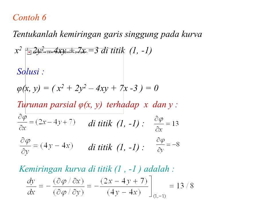 Contoh 6 Tentukanlah kemiringan garis singgung pada kurva. x2 + 2y2 – 4xy + 7x =3 di titik (1, -1)