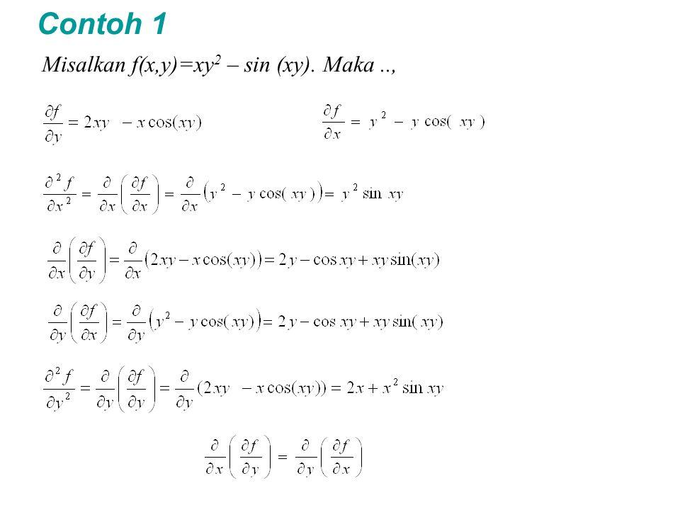 Contoh 1 Misalkan f(x,y)=xy2 – sin (xy). Maka ..,
