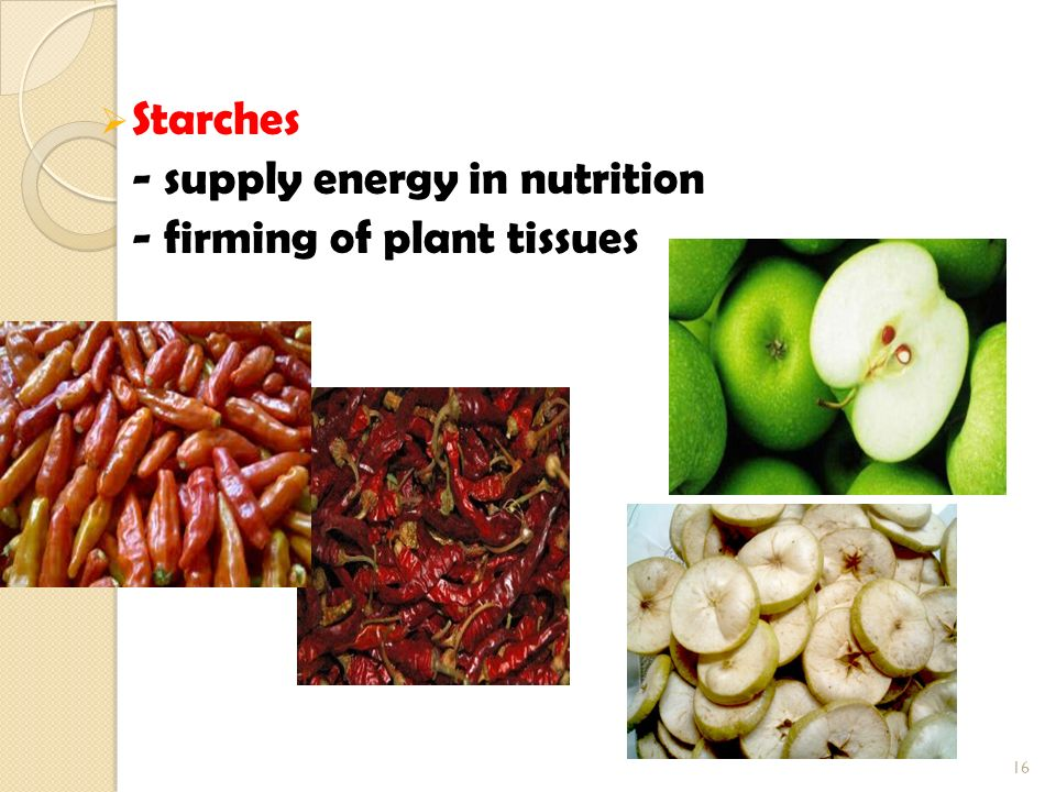 Starches - supply energy in nutrition - firming of plant tissues