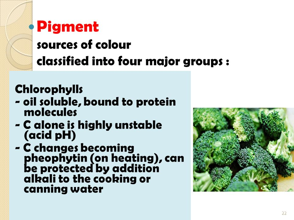 Pigment sources of colour classified into four major groups :