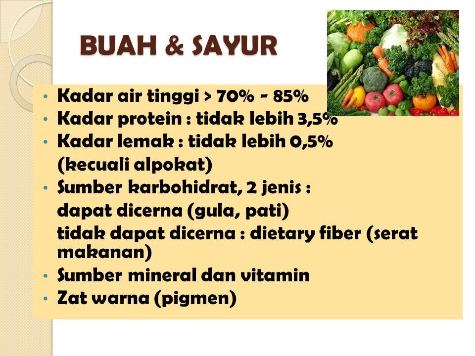BUAH & SAYUR Kadar air tinggi > 70% - 85%