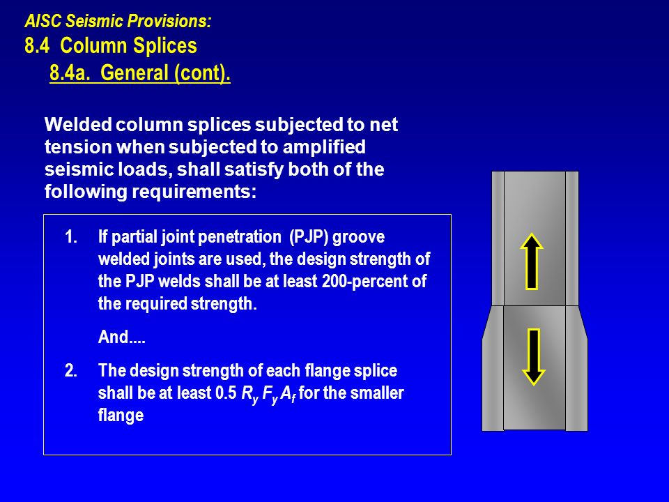 8.4 Column Splices 8.4a. General (cont). AISC Seismic Provisions: