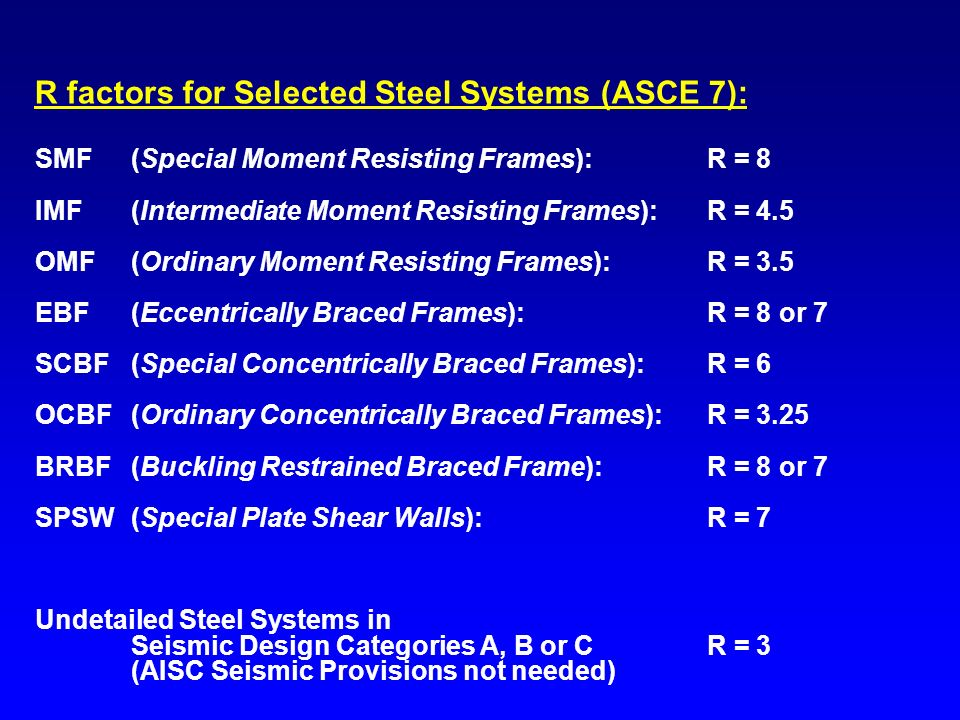 R factors for Selected Steel Systems (ASCE 7):