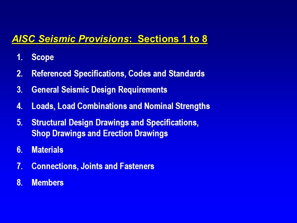 AISC Seismic Provisions: Sections 1 to 8