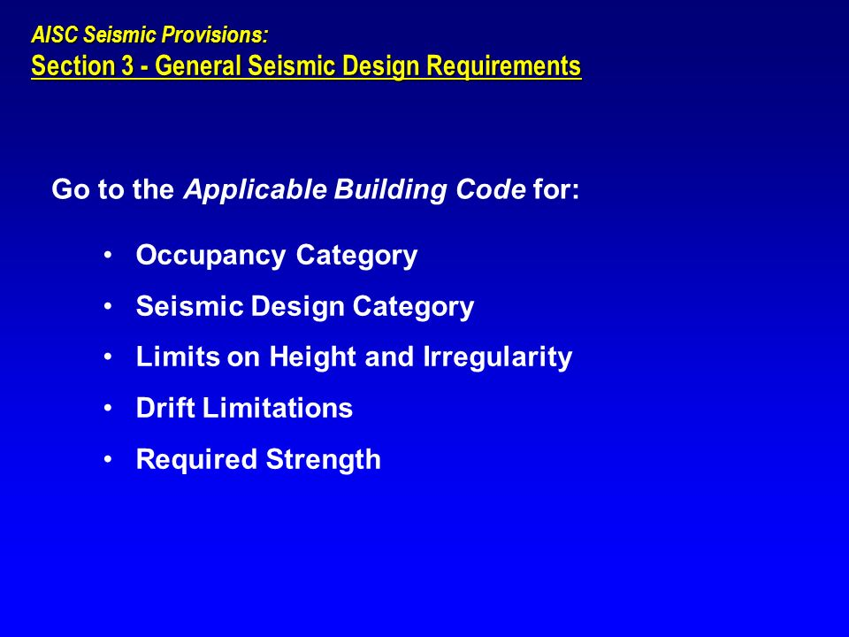 Section 3 - General Seismic Design Requirements