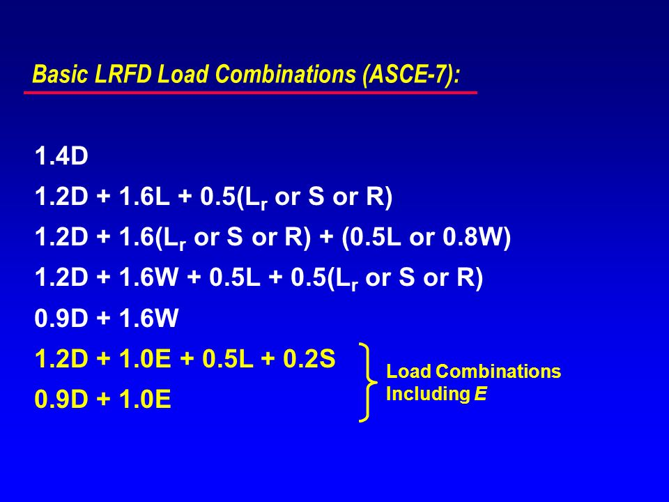 Basic LRFD Load Combinations (ASCE-7):