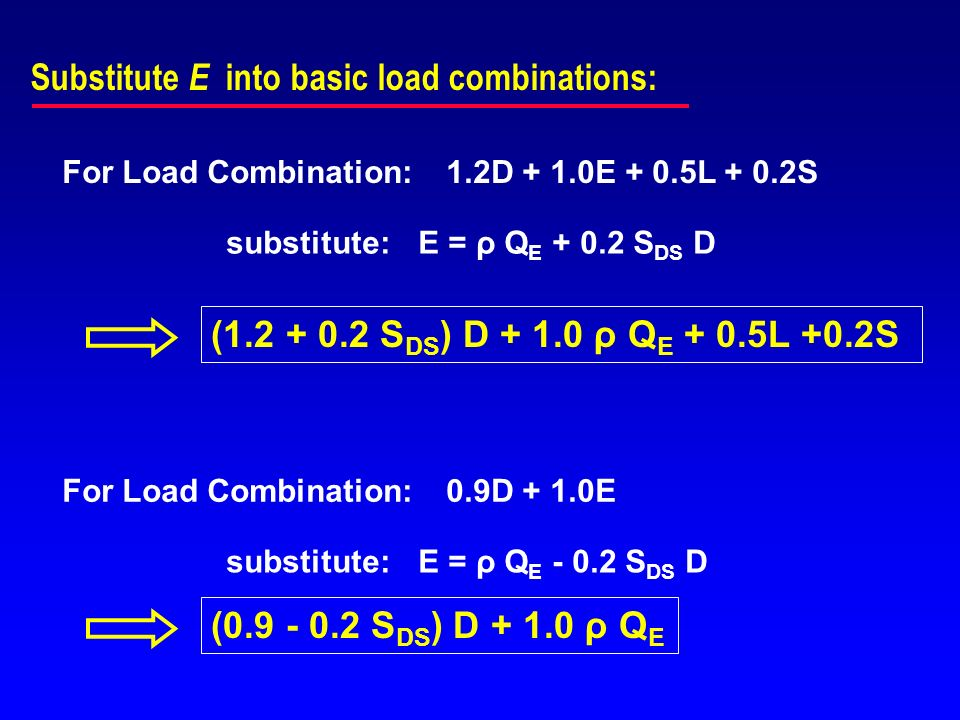 Substitute E into basic load combinations: