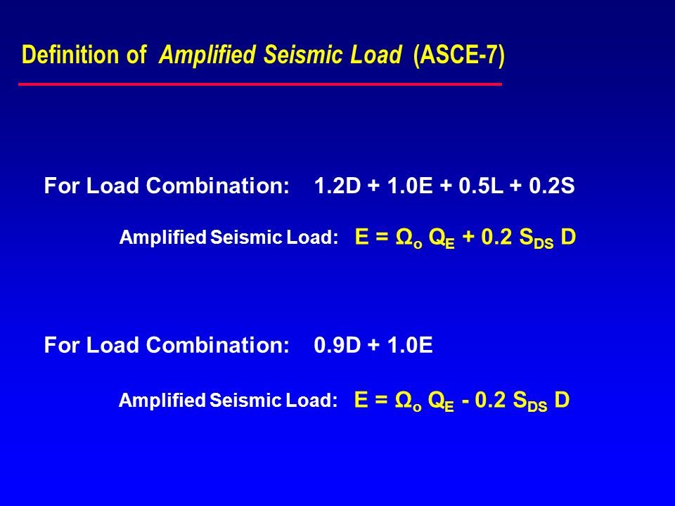Definition of Amplified Seismic Load (ASCE-7)