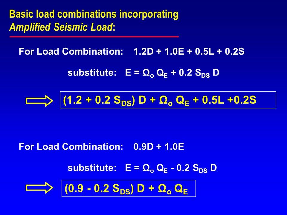 Basic load combinations incorporating Amplified Seismic Load: