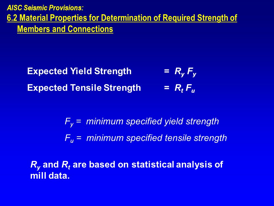 Expected Yield Strength = Ry Fy Expected Tensile Strength = Rt Fu