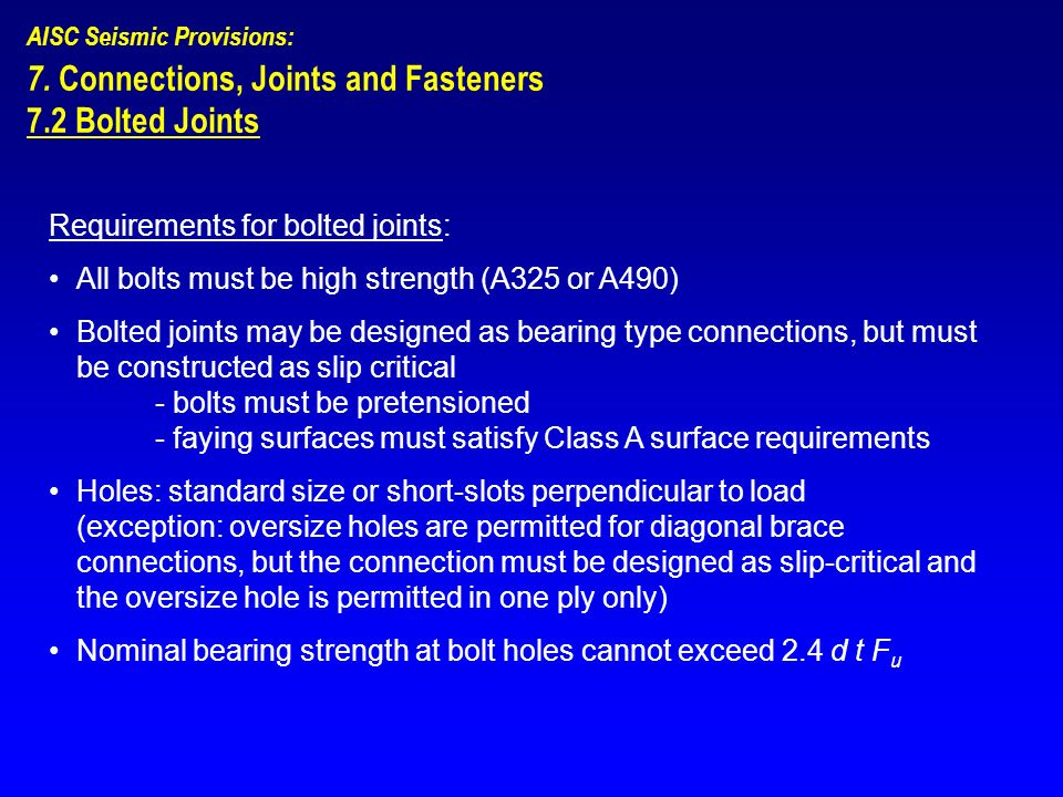 7. Connections, Joints and Fasteners 7.2 Bolted Joints