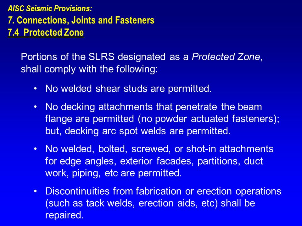 7. Connections, Joints and Fasteners 7.4 Protected Zone