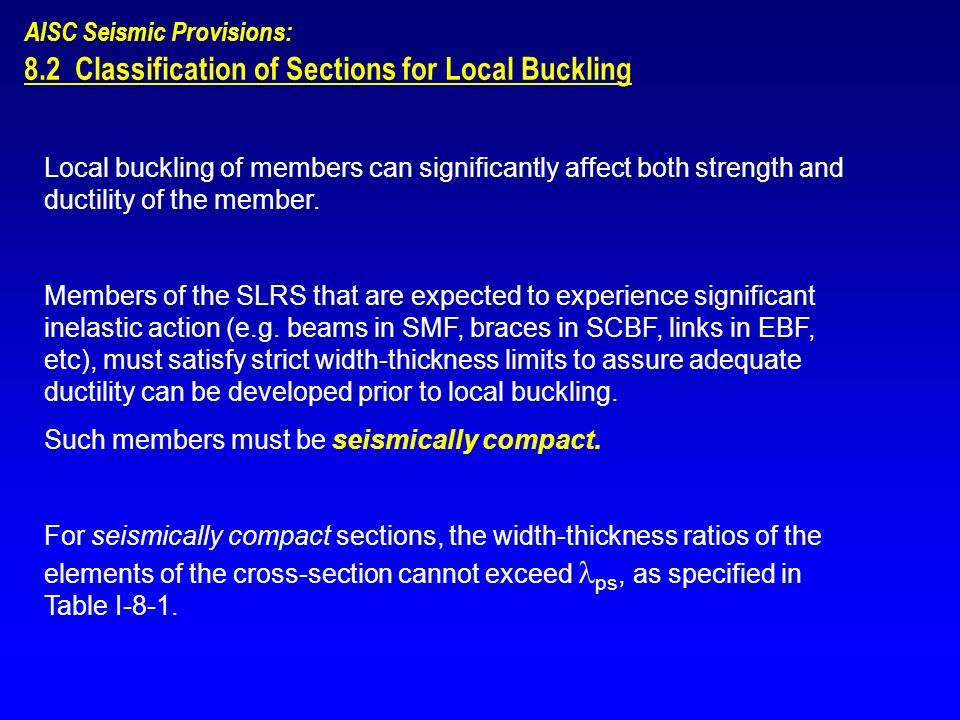8.2 Classification of Sections for Local Buckling