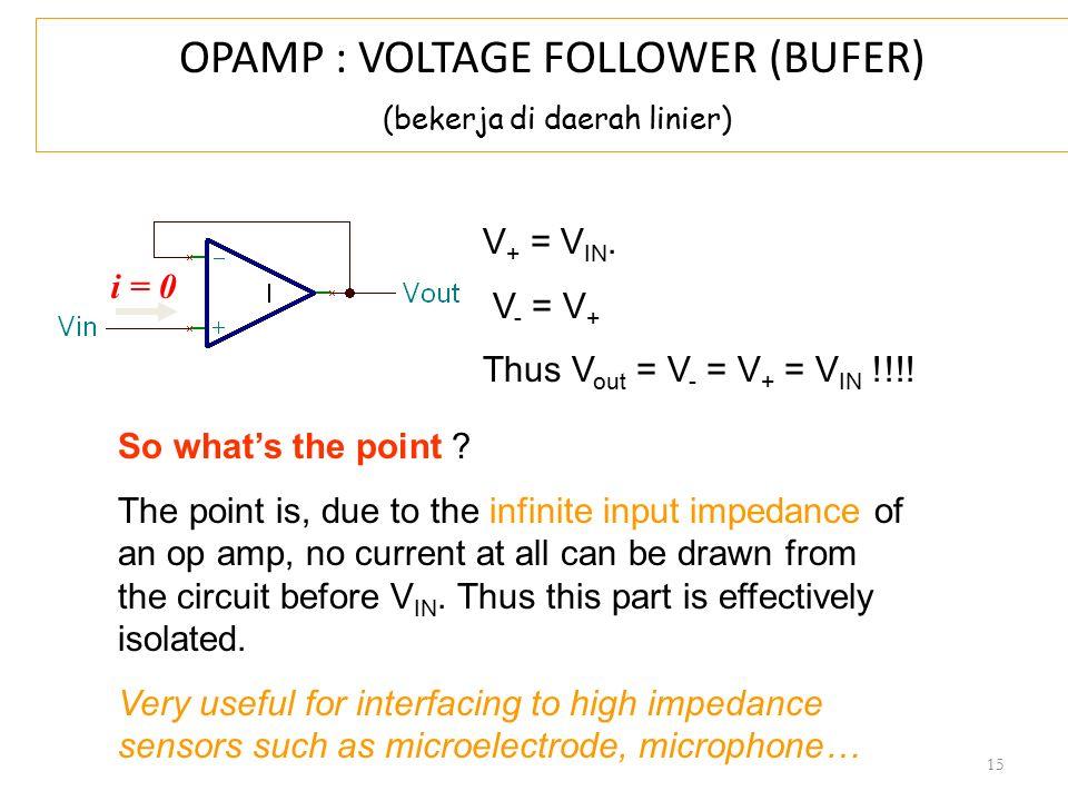 OPAMP : VOLTAGE FOLLOWER (BUFER) (bekerja di daerah linier)
