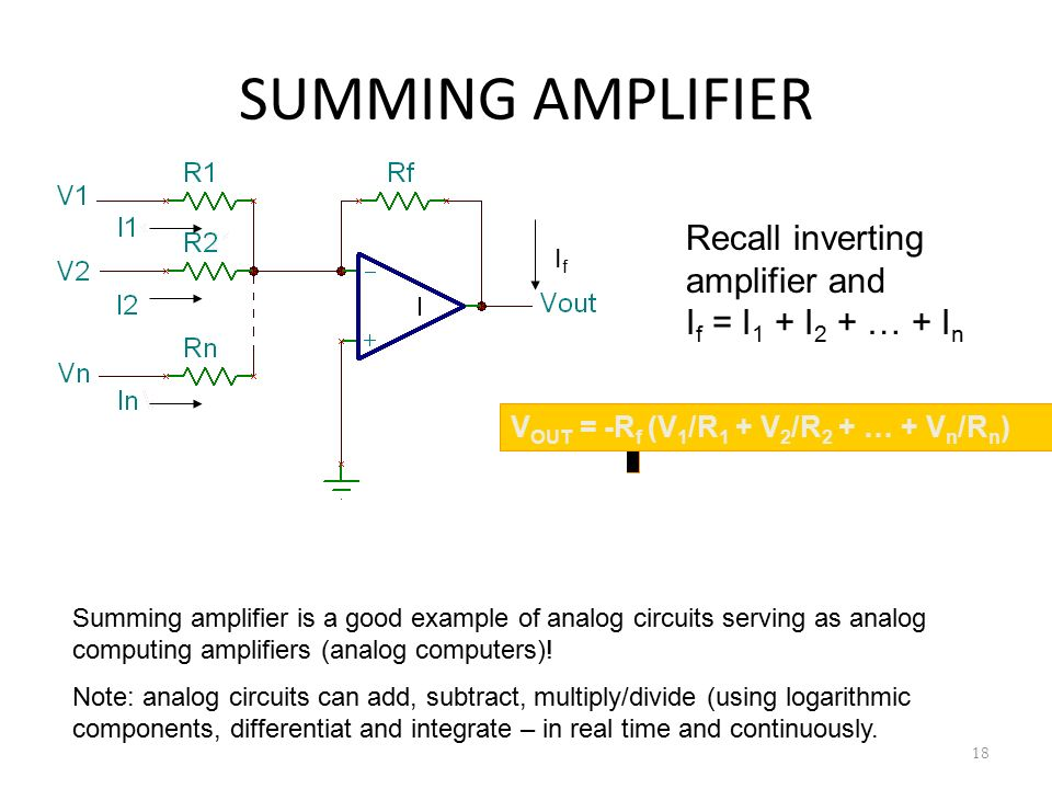 SUMMING AMPLIFIER Recall inverting amplifier and If = I1 + I2 + … + In