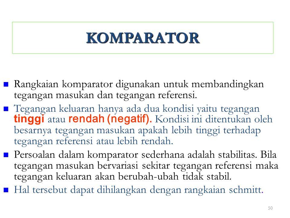 KOMPARATOR Rangkaian komparator digunakan untuk membandingkan tegangan masukan dan tegangan referensi.