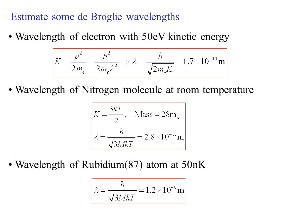 Estimate some de Broglie wavelengths