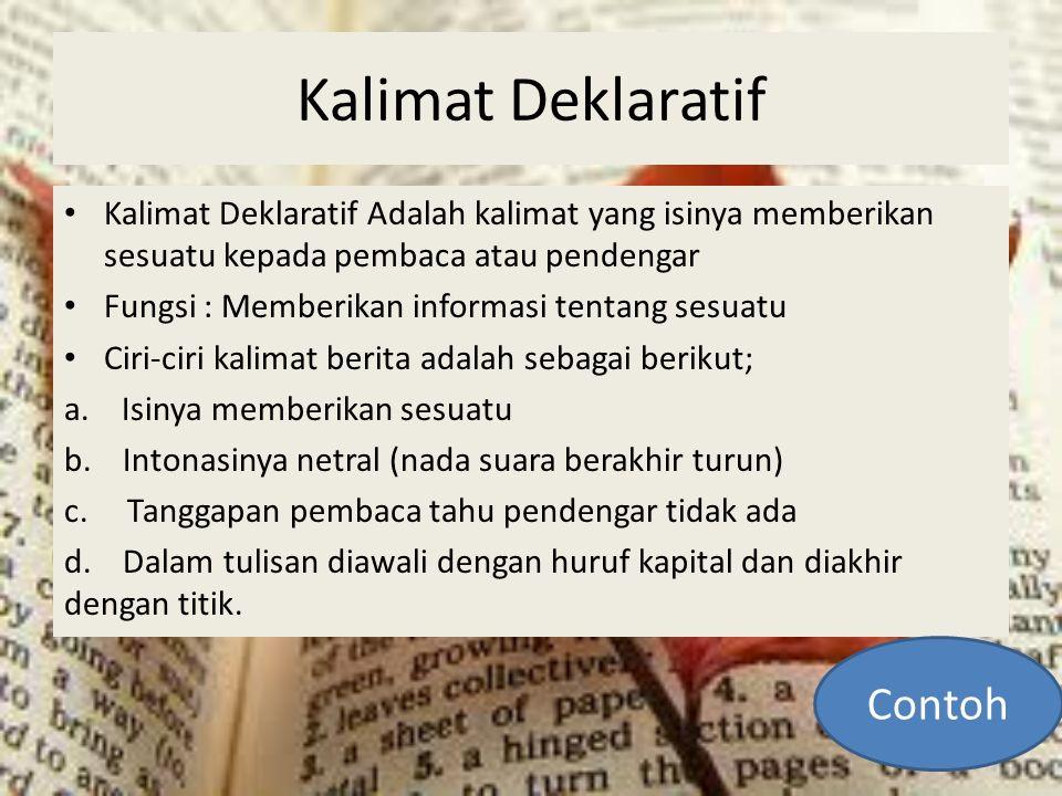 Kalimat Deklaratif Contoh