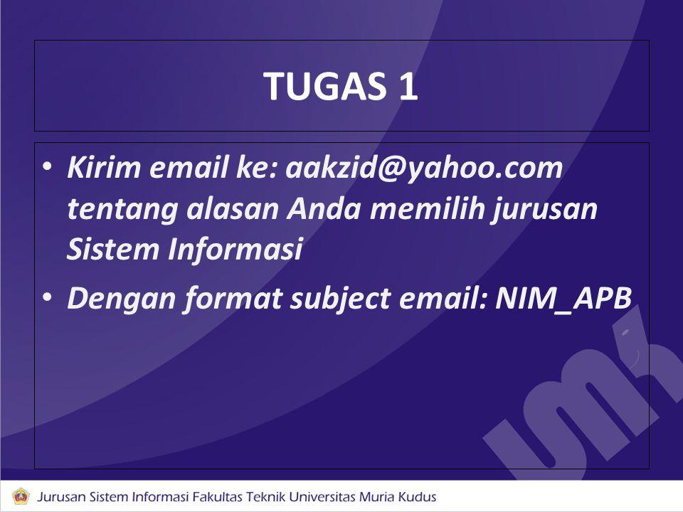 TUGAS 1 Kirim email ke: aakzid@yahoo.com tentang alasan Anda memilih jurusan Sistem Informasi.
