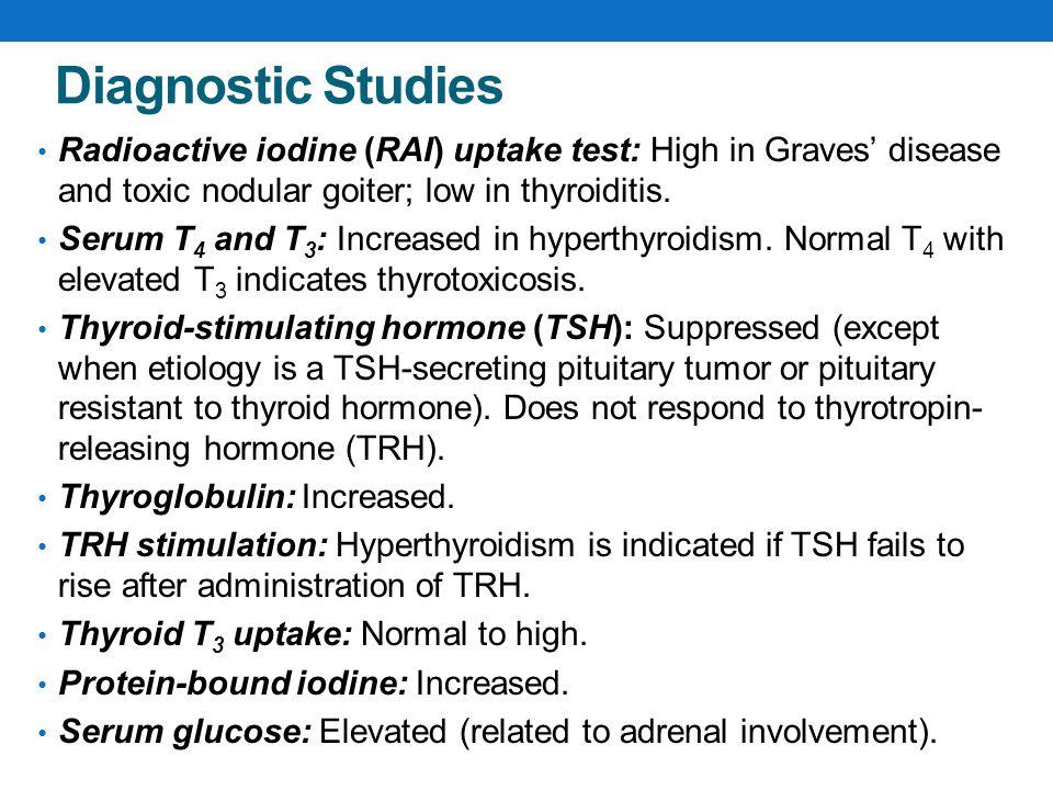 Diagnostic Studies Radioactive iodine (RAI) uptake test: High in Graves' disease and toxic nodular goiter; low in thyroiditis.