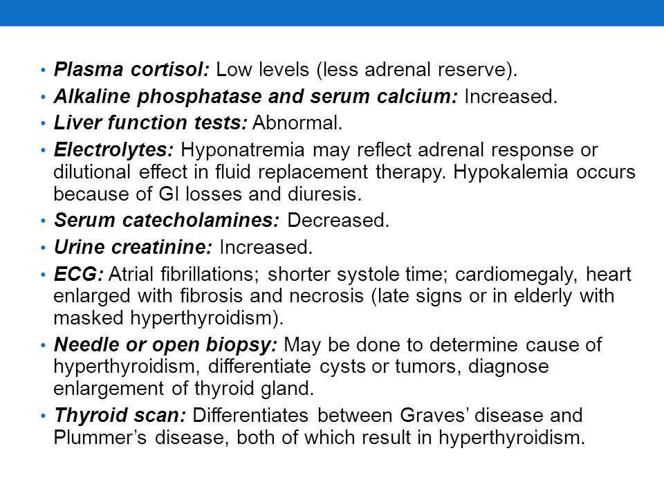 Plasma cortisol: Low levels (less adrenal reserve).