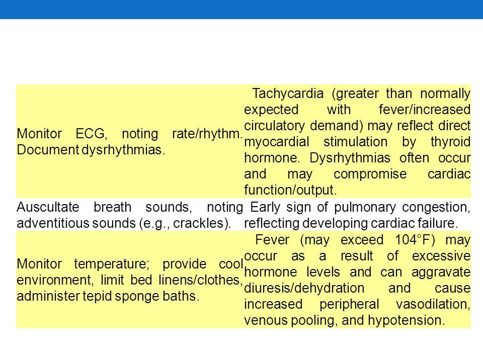 Monitor ECG, noting rate/rhythm. Document dysrhythmias.