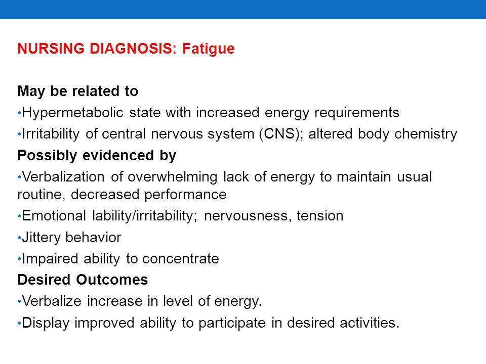 NURSING DIAGNOSIS: Fatigue