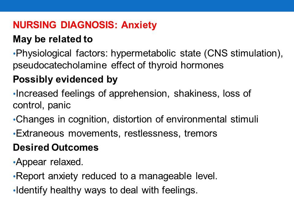 NURSING DIAGNOSIS: Anxiety
