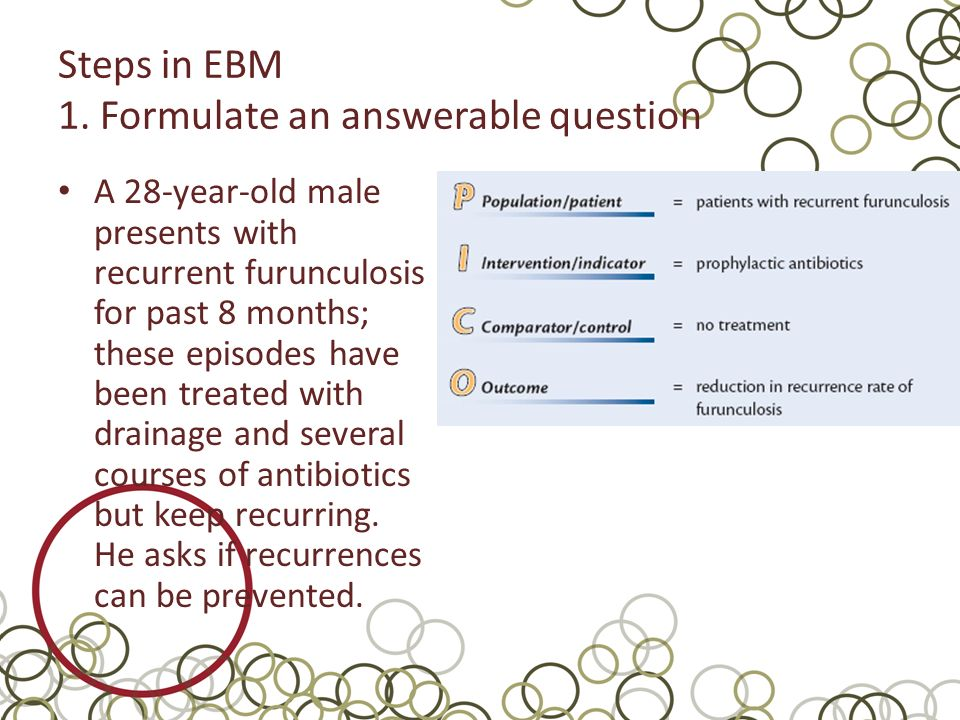 Steps in EBM 1. Formulate an answerable question